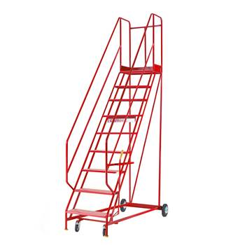Steptek mobile steps, 9 treads, H 2250 mm, punched