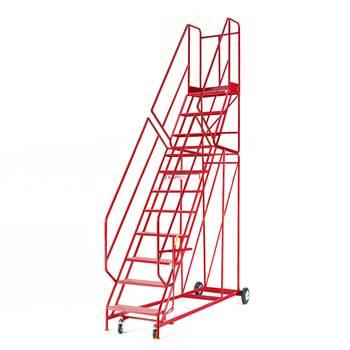 Steptek mobile steps, 11 treads, H 2750 mm, punched