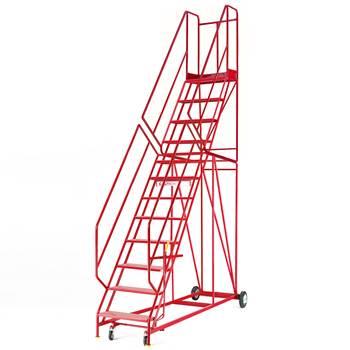 Steptek mobile steps, 12 treads, H 3000 mm, punched
