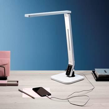Skrivebordslampe, LED, dimmer, hvit