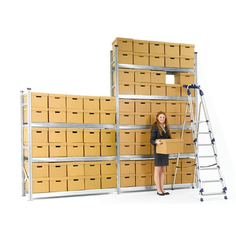 Archive shelving with boxes