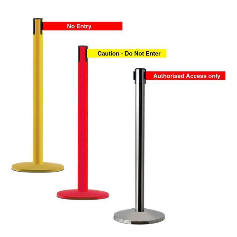 Printed message belt barriers: floor standing post