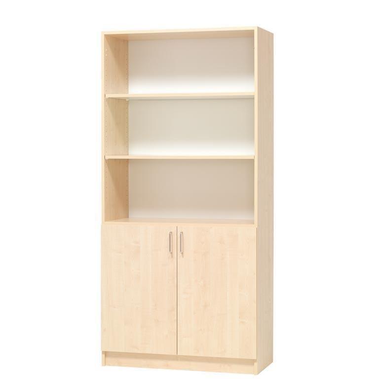 Regał - 3 półki otwarte oraz 2 półki za drzwiczkami