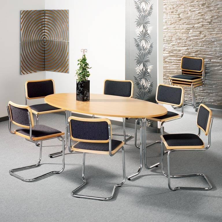 Soikea pöytä, pyökki/kromi