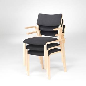 Krzesło konferencyjne z podłokietnikami - drewno bukowe
