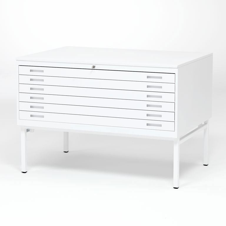 Complete white metal drawing cabinet: single