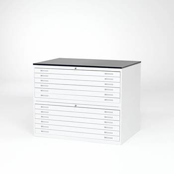 Complete white metal drawing cabinet: double