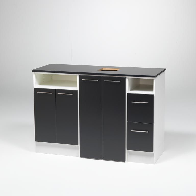 Cabinet with central waste disposal
