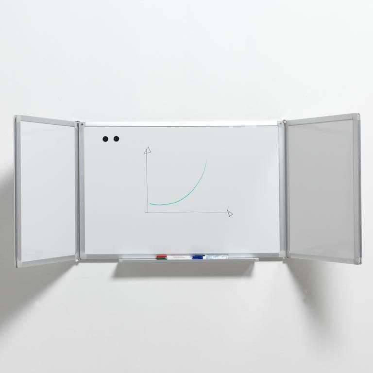 Triple panel whiteboard