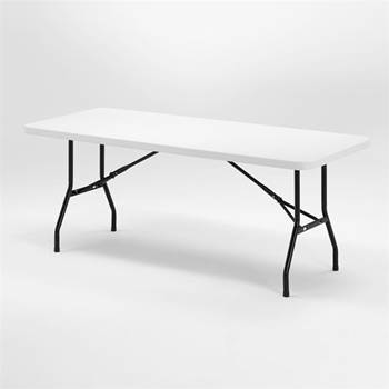 Plastic folding tables with black legs
