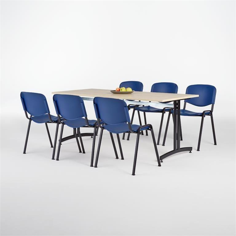 Pakkepris: Kantinebord i laminat + 6 plaststoler