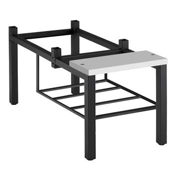 Bench frame with shoerack: grey seat