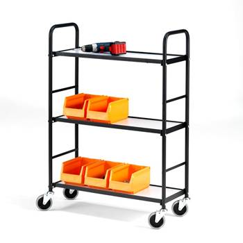 Narrow aisle shelf trolley