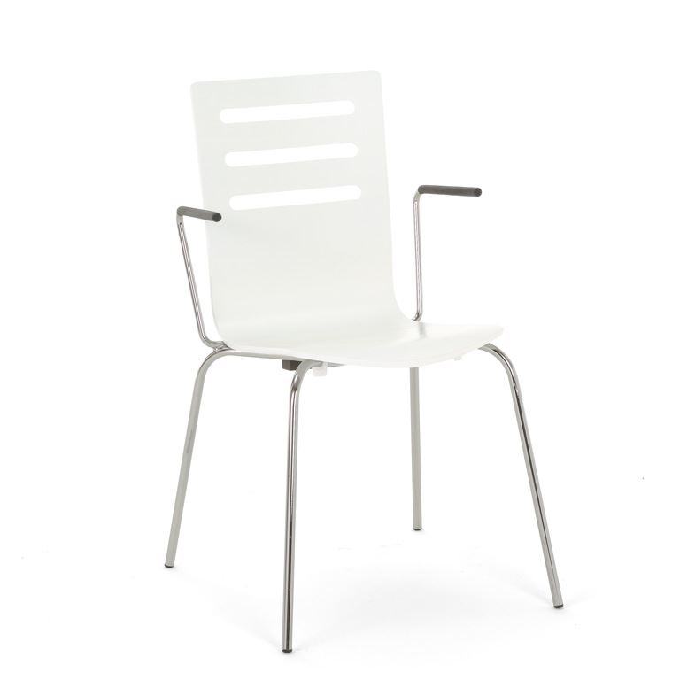 Stackable canteen chair with armrests