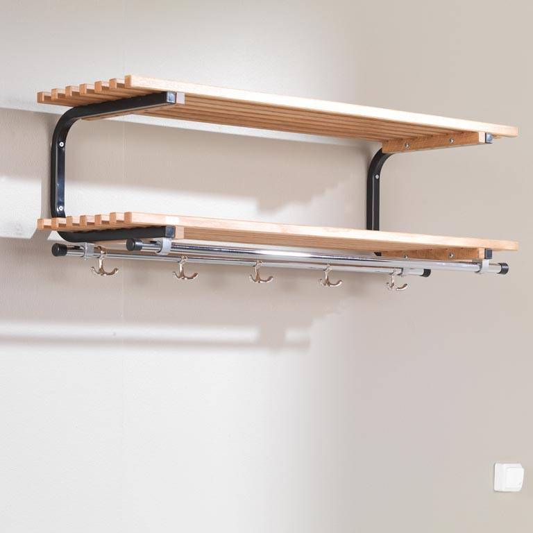 wall mounted coat rack with shelves aj products. Black Bedroom Furniture Sets. Home Design Ideas