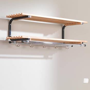 Wall mounted coat rack with shelves