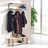 Wall mounted coat rack with shelves