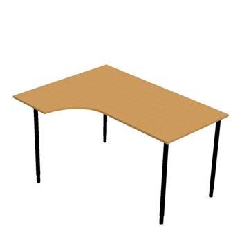 Hörnskrivbord med manuell höjdjustering