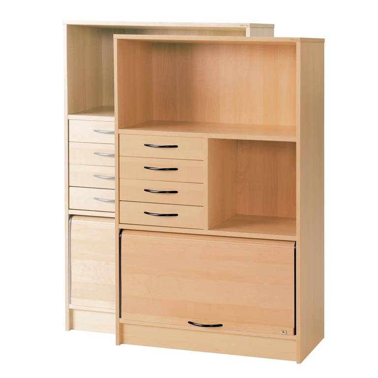 Cabinet: 2 shelves: sliding door: drawer unit