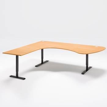 Skrivbord med stor arbetsyta, manuellt justerbart, rundad ände