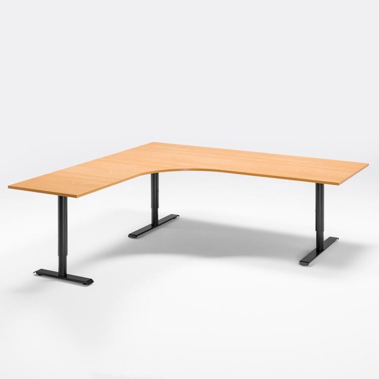 Skrivbord med stor arbetsyta, manuellt justerbart