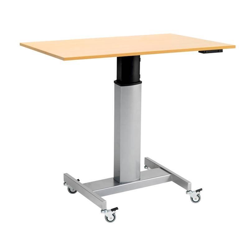 Höj- och sänkbart databord på hjul, rektangulär skiva