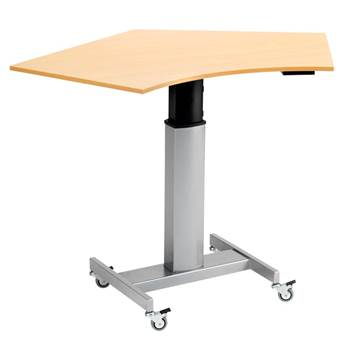 Biurko mobilne z blatem pięciokątnym i napędem elektrycznym