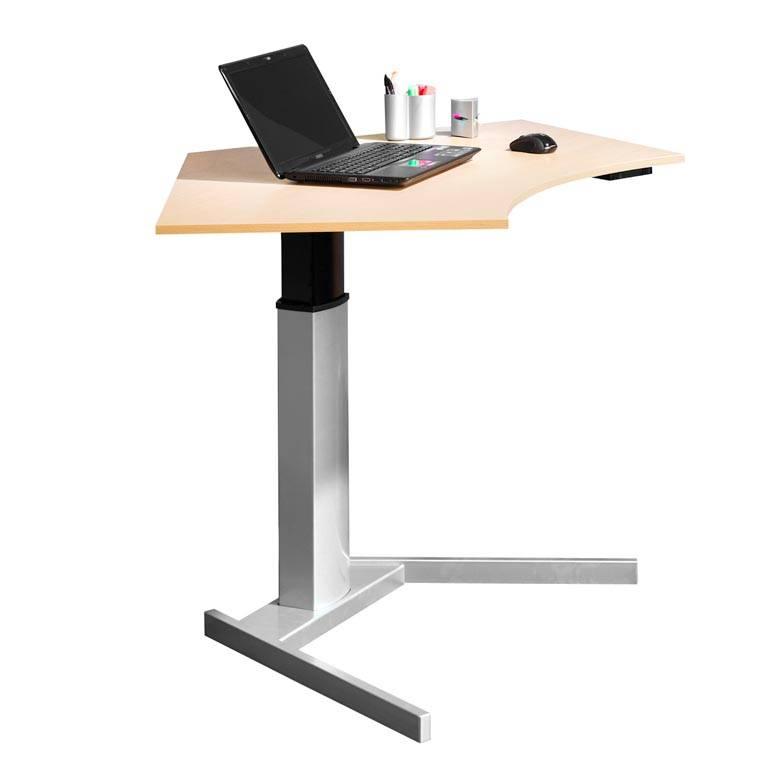 Floor standing height adjustable computer desk