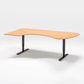 Skrivbord, manuellt justerbart, rundad ände