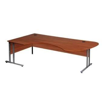 Skrivbord Flexus, rund ände, L-stativ