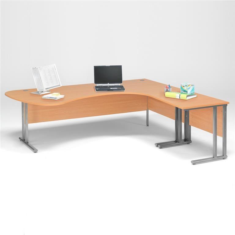 Pakke: Skrivebord Hjørne med bue + Avlastningsbord