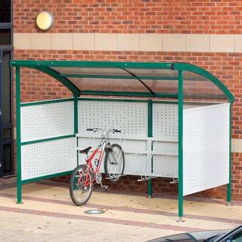 Premier cycle shelters with perforated sides: basic unit