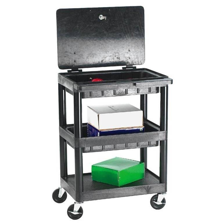 Service trolley: 2 storage trays+1 flat shelf