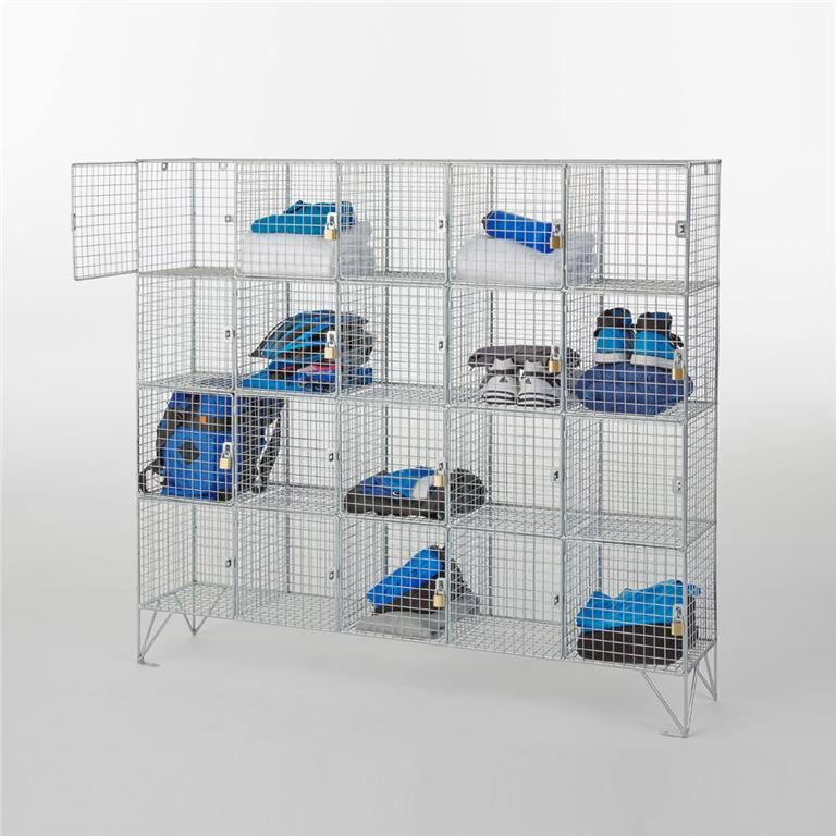Mesh multi-compartment lockers: with doors