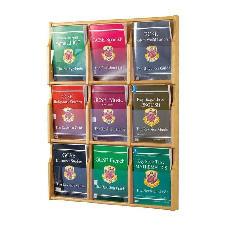Leaflet display holders: oak