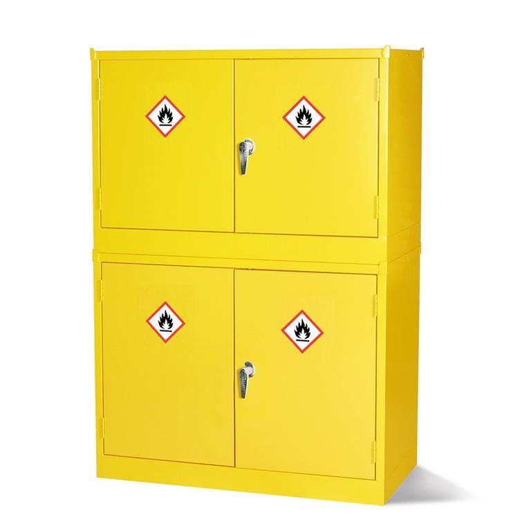 Stacking hazardous storage cabinets