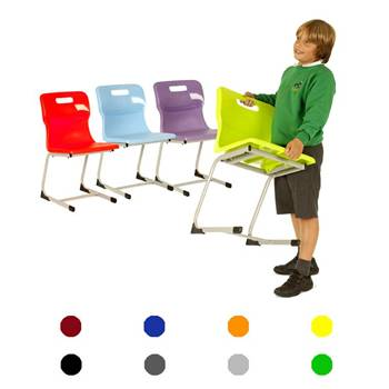 Plastic reverse cantilever chair: H 380 mm