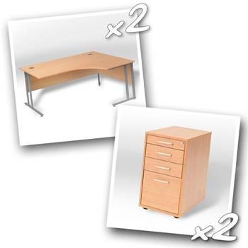 2 x ergo desks + 2 x desk high peds D600mm