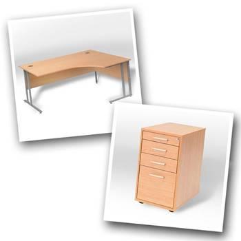 Ergo desk + desk high ped D800mm