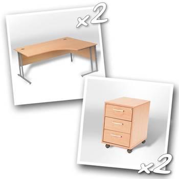 2 x ergo desks + 2 x 3 dwr peds