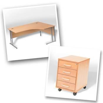 Ergo desk + 4 dwr mobile ped
