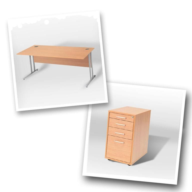 """Flexus budget"" package deal: straight desk + pedestal"