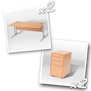 2 x straight desks + 2 x peds D800mm