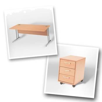 Straight desk + 3 dwr mobile ped