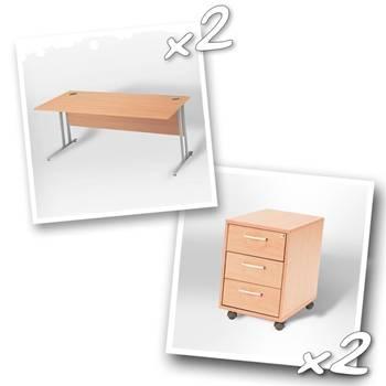 2 x straight desks + 2 x 3 dwr ped