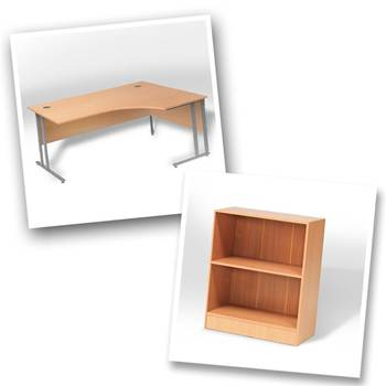 Ergo desk + bookcase H925mm