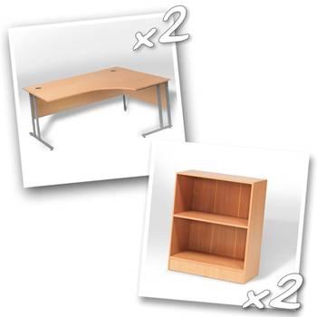 2 x ergo desks + 2 x bookcase H925mm