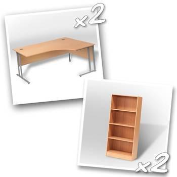 2 x ergo desks + 2 x bookcase H1725mm
