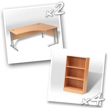 2 x ergo desks + 4 x bookcase H1325mm