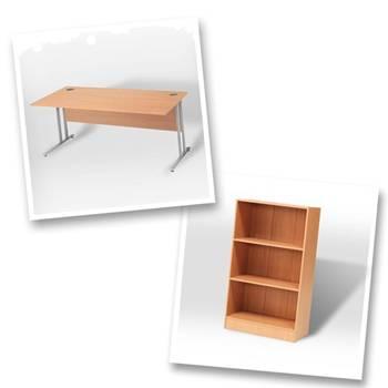 Straight desk + bookcase H1325mm